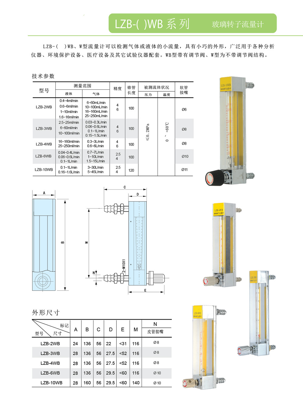LZB-W/LZB-WB系列玻璃转子流量计